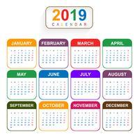 Année 2019, beau calendrier Design créatif vecteur