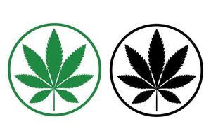 icône simple de la silhouette de la feuille de cannabis marijuana indica vecteur