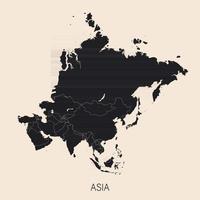 la carte politique détaillée du continent asiatique avec la Russie avec les frontières des pays vecteur