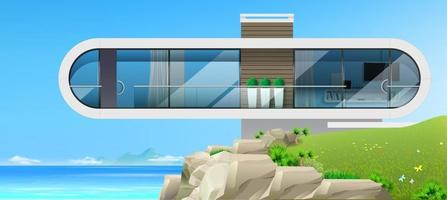 villa moderne au bord de la mer vecteur