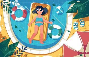 femme se détendre dans la piscine en été vecteur