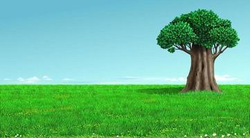 Vieux chêne sur un paysage de champ vert vecteur