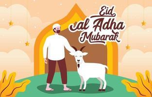 homme heureux célébrant eid al adha qurban vecteur