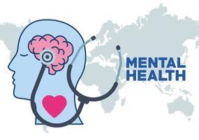 journée de la santé mentale profil humain et coeur et stéthoscope vecteur