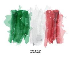 drapeau de la peinture à l'aquarelle de l'italie vecteur