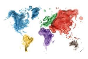 conception de peinture à l'aquarelle de la carte du monde et des continents vecteur concept écologique