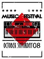 affiche du festival de musique avec piano et lettrage en arrière-plan vintage vecteur