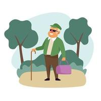 vieil homme avec sac à main dans le paysage personnage senior actif vecteur