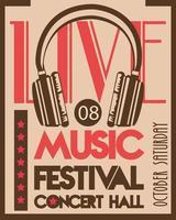 affiche du festival de musique avec casque audio en arrière-plan vintage vecteur