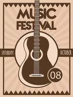 affiche du festival de musique avec instrument acoustique de guitare en arrière-plan vintage vecteur