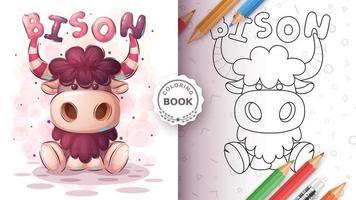 livre de coloriage de personnage de dessin animé drôle de bison vecteur