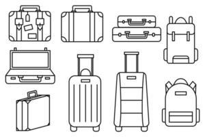 ensemble d'icônes de bagages et sac à dos de collection vecteur