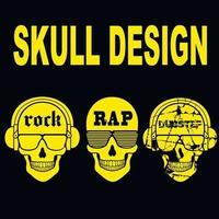 mettre le signe de la musique avec le crâne, t-shirts design vintage vecteur