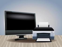 imprimante matériel machine et moniteur périphériques informatiques vecteur