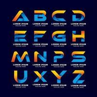 modèle de logo de pack de lettre alphabet créatif dans le style de dégradés vecteur