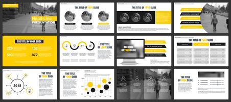 Modèles de diapositives de présentation d'entreprise à partir d'éléments infographiques. Peut être utilisé pour la présentation, le dépliant et le dépliant, la brochure, le rapport de l'entreprise, le marketing, la publicité, le rapport annuel, la vecteur