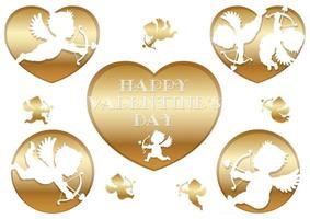 vecteur, 3d, soulagement, cupidon, icônes, pour, valentines, jour, isolé, sur, a, fond blanc vecteur