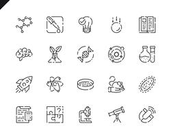 Simple Set Science Line Icons pour site Web et applications mobiles. vecteur