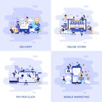 Bannière web de concept plat moderne de magasin en ligne, Pay Per Click, marketing mobile et livraison avec caractère décoré de petites personnes