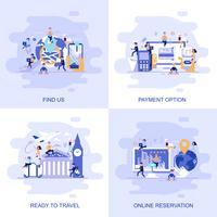 Bannière web de concept plat moderne de nous trouver, réservation en ligne, option de paiement et prêt à voyager avec le personnage décoré de petites personnes.
