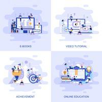 Bannière web concept plat moderne de didacticiel vidéo, réalisation, éducation en ligne et E Books avec le personnage décoré de petites personnes. vecteur