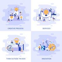 Bannière web concept plat moderne de services, penser en dehors de la boîte, innovation et processus créatif avec le caractère décoré de petit peuple