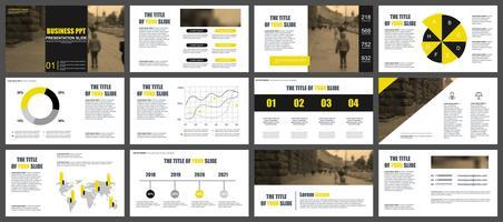 Présentation de l'entreprise jaune et noir diapositives modèles à partir d'éléments infographiques.