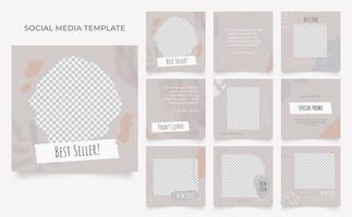 modèle de médias sociaux, promotion de vente de mode de blog affiche de vente organique de cadre de poste carré entièrement modifiable vecteur