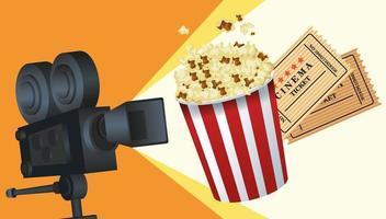 animation cinéma avec pop corn et billets vecteur