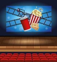 animation cinéma avec soda et pop corn vecteur