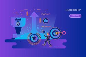 Bannière web concept moderne ligne plate dégradé du leadership et homme d'affaires avec le personnage décoré de petites personnes. Modèle de page de destination. vecteur
