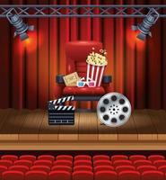 divertissement cinéma avec pop corn et lunettes 3d vecteur