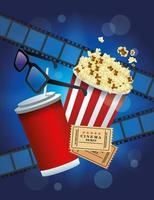 animation cinéma avec pop corn et soda vecteur
