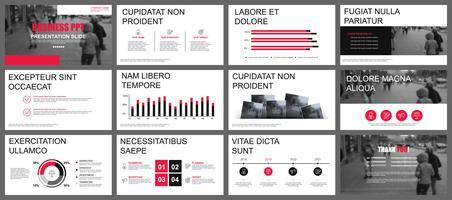 Présentation de l'entreprise PowerPoint diapositives modèles à partir d'éléments infographiques. vecteur