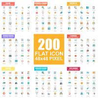 Ensemble simple d'icônes de plat vectorielles. Pack de pictogrammes plats. 48x48 Pixel Parfait. vecteur