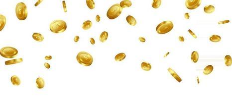 invitation vip de luxe de casino de pièces d'or avec le fond de bannière de jeu de fête de célébration de confettis vecteur