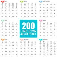 Ensemble simple d'icônes de fine ligne de vecteur. Pack de pictogrammes linéaires. 48x48 Pixel Parfait.