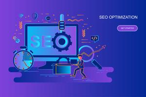 Bannière web concept moderne ligne plate gradient d'optimisation seo avec caractère décoré de petites personnes Modèle de page de destination.