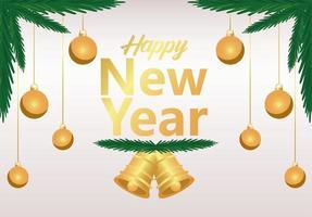 bonne année lettrage carte d'or avec des boules et des cloches suspendues dans des sapins vecteur