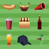 paquet de neuf super bowl football américain mis icônes sur fond vert vecteur