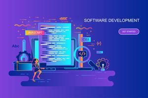 Bannière web concept moderne ligne plate gradient de développement de logiciel avec le caractère décoré de petit peuple. Modèle de page de destination.