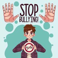 Jeune garçon adolescent avec signal d'arrêt de l'intimidation et arrêt des mains vecteur
