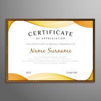 Certificat abstrait fond ondulé