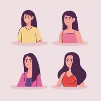 groupe de femmes de différents âges personnages avatars vecteur