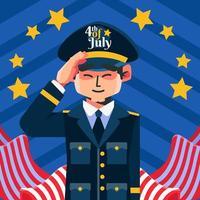 Salut des soldats du 4 juillet vecteur