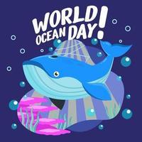 beauté de la journée mondiale de l'océan vecteur