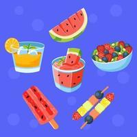 boisson et nourriture aux fruits frais vecteur