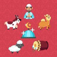 ensemble d'icônes de célébration eid adha vecteur