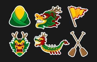ensemble d'autocollants du festival des bateaux-dragons vecteur