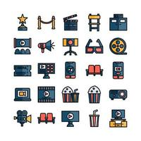 jeu d'icônes de cinéma ligne plate vectorielle pour la présentation de l'application mobile du site Web médias sociaux adaptés à l'interface utilisateur et à l'expérience utilisateur vecteur